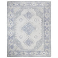 "Lambeth Blue and White Vintage-Style Geometric Rug, 7'6""x10'"