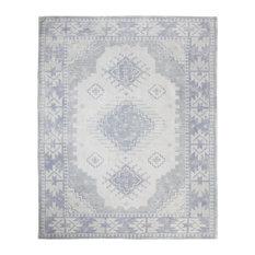 "Lambeth Blue and White Vintage-Style Geometric Rug, 7'6""x10'"