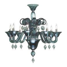 Murano Style Chandeliers   Houzz:Cyan Design - Cyan Design Treviso Indigo Smoke Murano Style Glass 8-Light  Chandelier -,Lighting