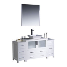 "60"" Modern Single Sink Vanity, White, White Ceramic Vessel Sink, FFT1044CH"