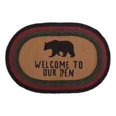 Red Rustic and Lodge Flooring Laramie Bear Welcome to Our Den Rug Jute Stenciled