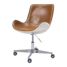 Abner Swivel Office Chair, Distressed Caramel