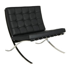 Classic Romano Genuine Italian Leather Lounge Chair, Black Top Grain Leather