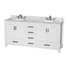 "72"" Double Bathroom Vanity in White, Countertop, Undermount Sink"