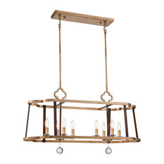 Ava Libertine 8-Light Island in Pale Gold with Distressed Bronze