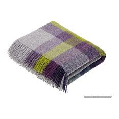 Shetland Quality - Pure New Wool - Harley Stripe - Blackcurrant - Throw Blanket