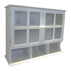 Wall Mounted Cabinet, White MDF With 2 Glass Doors and 1 Adjustable Shelf