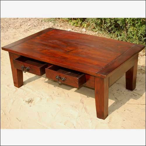 Large Wood 2 Storage Drawers Occasional Cocktail Table - Coffee Tables - Coffee Tables