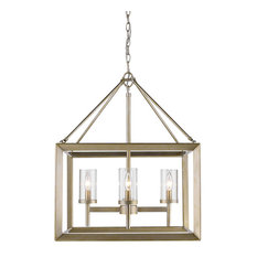 Smyth Mini Chandelier, White Gold With Clear Glass