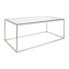 Ernest Glass Coffee Table With Metal Frame, Rectangular
