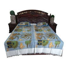 Mogul Interior - Bed Cover Sets Nature Printed Cotton Bedding Bedspreads Indian Decor - Sheet And Pillowcase Sets