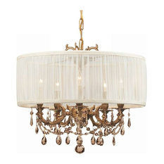 Crystorama Gramercy 5 Light Golden Teak Crystal Drum Shade Chandelier