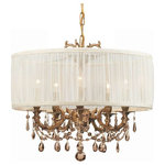 Crystorama - Crystorama Brentwood Brass Chandelier Golden Teak MWP Crystal - This isn't your Grandmother's crystal. The Brentwood Collection from Crystorama offers a nice mix of traditional lighting designs with large tailored encompassing shades. Adding either the Harvest Gold or the Antique White shade to these best selling skus opens the door to possibilities for these designer friendly chandeliers. The Brentwood Collection has a touch of design flair that will work for your traditional or transitional home.