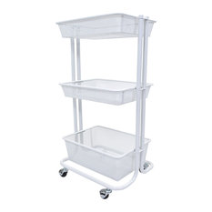 Offex - Offex Multipurpose Home Storage Kitchen Utility Rolling Cart, White - Utility Carts