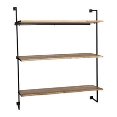 Industrial-Chic Wood and Iron Wall Shelf
