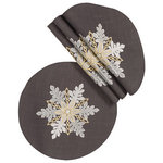 Xia Home Fashions - Sparkling SnowflakesDouble layer 16'' Round Christmas Placemats, S/4 - Vivid snowflake embroidered on the thick gray fabric. Matching placemats, napkins and table runner available. Made with 100% wrinkle and stain resistant easy care poliviscose. Machine Washable. Christmas dinner will be perfectly accented with these warm and inviting holiday linens!