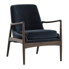 Brenda Mid Century Modern Deep Seat Black Velvet Upholstered Armchair
