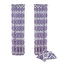 """Honor Curtain and Throw Pillow Set Combo, Lavender, 70""""x84"""""""
