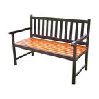 Camelback Outdoor Wooden Bench In Black Transitional