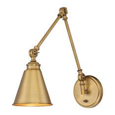 Morland 1 Light Adjustable Sconce With Plug, Warm Brass