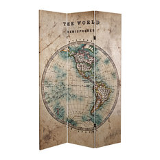 6' Tall Double Sided Vintage Globe Canvas Room Divider