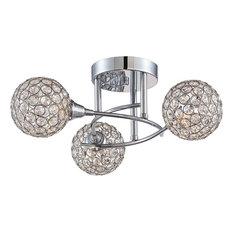Platinum Shimmer 3-Light Semi-Flush Mount, Polished Chrome, Clear Glass