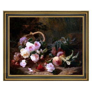 STILL LIFE WITH FRUIT AND FOWERS FRENCH PAINTING BY PIERRE BOURGOGNE REPRO