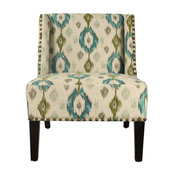 Adeco Geometric Print Fabric Lien Chair For Living Dining Room With Four Legs