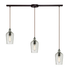 Hammered Glass 3-Light Pendant in Oil Rubbed Bronze and Hammered Clear