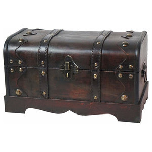 Traditional Storage Chest, Antique Cherry Finished Oak Wood and Faux Leather