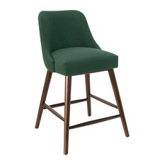 Markham Rounded Back Counter Stool In Linen Conifer Green