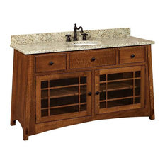 Mccoy Bathroom Vanity, Hickory, Natural, Glass Door