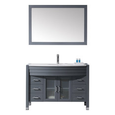 "Virtu Ava 48"" Single Bathroom Vanity, Gray With White Top, Faucet And Mirror"