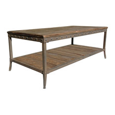 Inspire At Home Coffee Table With Distressed Pine And Metal Base Coffee Tables