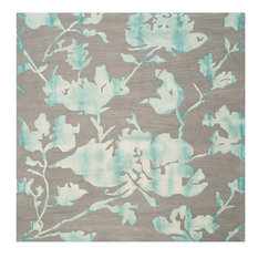 Safavieh Dip Dyed Ddy716L Gray, Turquoise Area Rug, 7'x7' Square