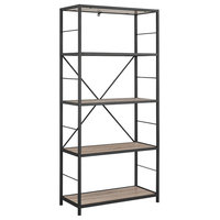 """Office Accents 63"""" Rustic Metal and Wood Media Bookshelf, Driftwood"""