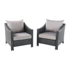 GDFStudio   Cortez Outdoor Club Chairs With Cushions, Set Of 2, Gray And  Silver