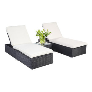 Outdoor  Patio Chaise Lounge Chair  Wicker Rattan - 3 Piece Black