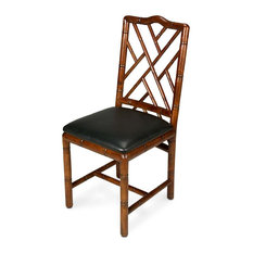 39-inch H Set Of Two Bamboo Dining Chair Solid Birch Wood Frame Bamboo Carving