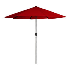 Pure Garden 9' Aluminum Patio Umbrella With Auto Crank, Red