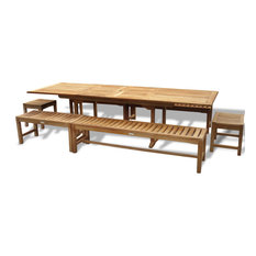 """Grade A Teak 108"""" x 39"""" (9 ft Long) Double Leaf Ext.Table w 6 Benches, Seats 12"""