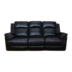 Topher Dual Recliner Sofa, Black, Manual