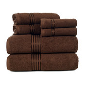 100% Cotton Hotel 6 Piece Towel Set by Lavish Home, Chocolate