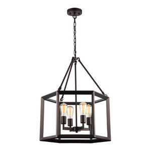 """IRONCLAD, Industrial-style 4 Light Rubbed Bronze Ceiling Pendant, 21"""" Wide"""