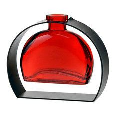 Fiji Recycled Glass Vase and Arched Metal Stand, Red