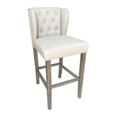 Wellington Contemporary Wood/Linen Barstool - Beige Linen