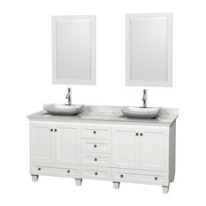 "72"" Acclaim White Double Vanity, White Carrera Top and White Carrera Marble Sink"