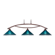 """Bow 3 Light Bar In Bronze, 16"""" Teal Crystal Glass"""
