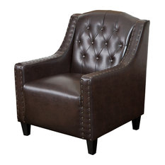 GDFStudio   Nottingham Tufted Leather Club Chair, Brown   Armchairs And Accent  Chairs