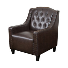 Charmant Nottingham Tufted Leather Club Chair, Brown. Tufted Leather Wingback Chair